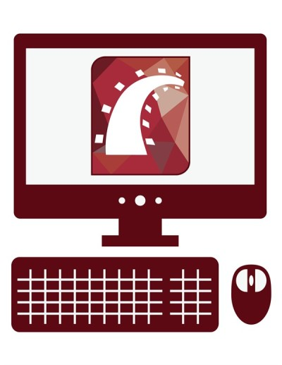 vector icon of personal computer with ruby on rails sign on the screen, isolated dark red simple flat illustration on white background