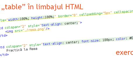Practica la Reea - Tag table in limbajul HTML- exercitiu 1